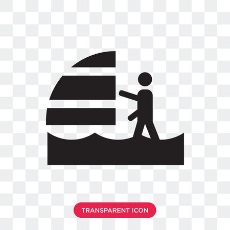 Windsurf sea vector icon isolated on transparent background, Windsurf sea logo concept