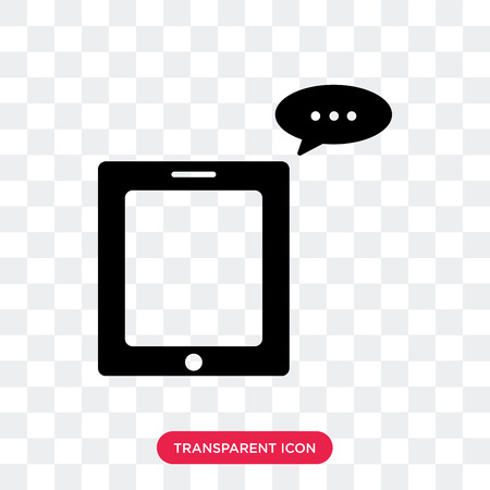 Message on phone vector icon isolated on transparent background, Message on phone logo concept