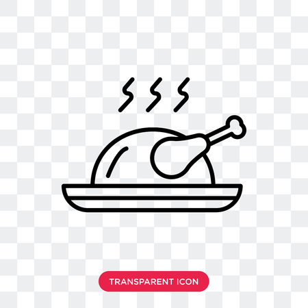 Roast chicken vector icon isolated on transparent background, Roast chicken logo concept