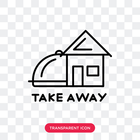 Take away vector icon isolated on transparent background, Take away logo concept