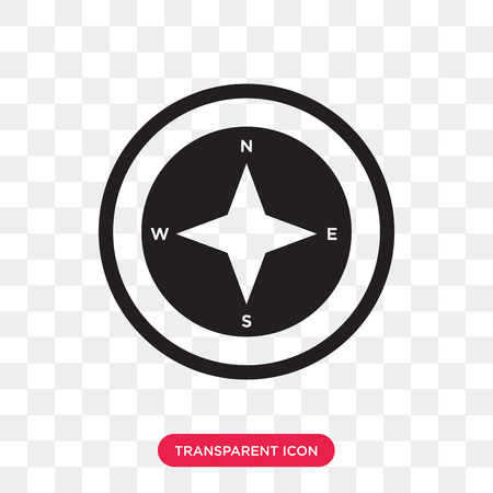 Cardinal points on winds star vector icon isolated on transparent background, Cardinal points on winds star logo concept Banque d'images - 107652086