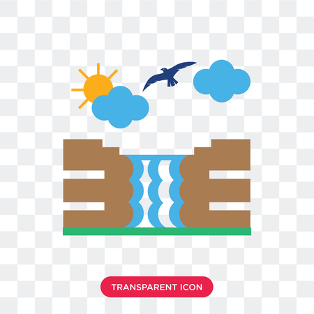 Waterfall vector icon isolated on transparent background, Waterfall logo concept