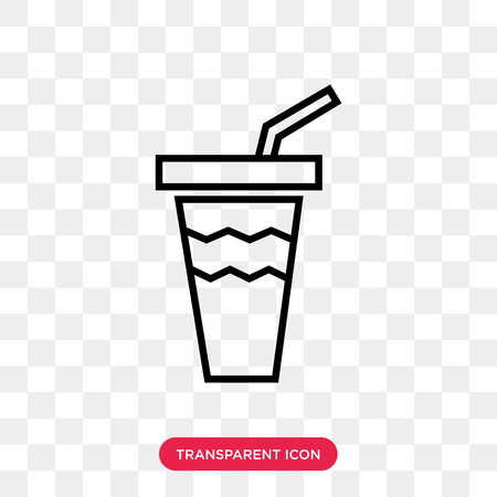 Soda glass with a straw vector icon isolated on transparent background, Soda glass with a straw logo concept
