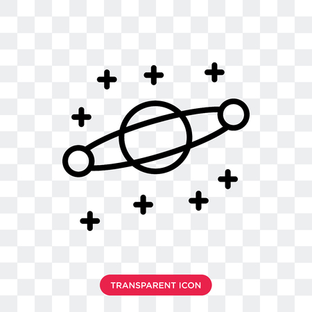 Planet vector icon isolated on transparent background, Planet logo concept Vettoriali