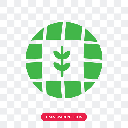 Globe and Plant vector icon isolated on transparent background, Globe and Plant logo concept Foto de archivo - 107653488