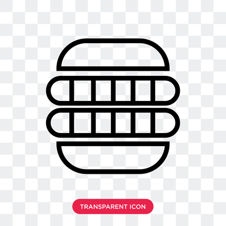 Hot dog sausage in bread vector icon isolated on transparent background, Hot dog sausage in bread logo concept