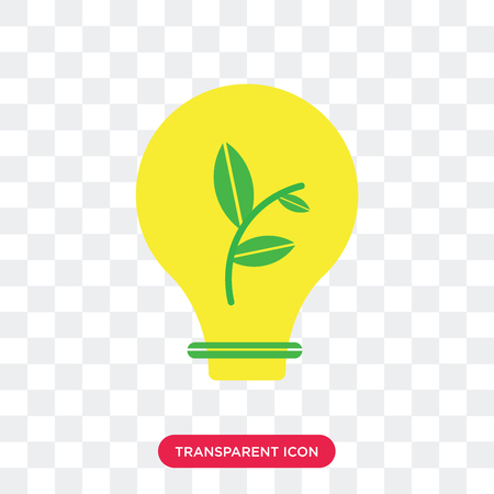 Ecological Light Bulb vector icon isolated on transparent background, Ecological Light Bulb logo concept Vectores