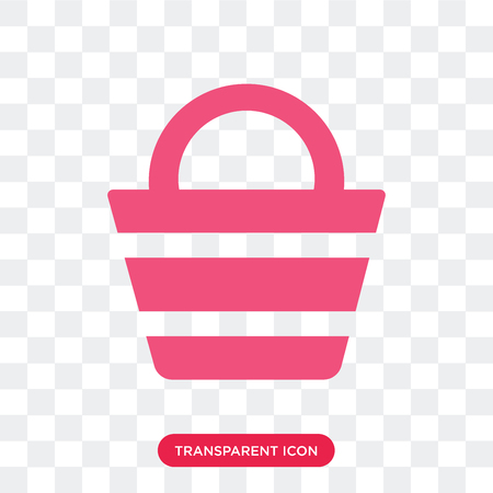 Beach bag vector icon isolated on transparent background, Beach bag logo concept