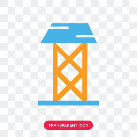 Power tower vector icon isolated on transparent background, Power tower logo concept