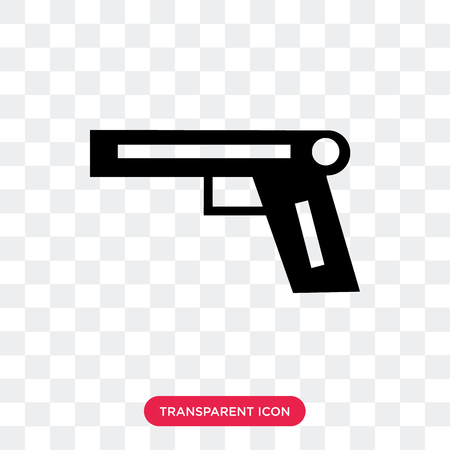 Pistol vector icon isolated on transparent background, Pistol logo concept Stock Vector - 107765976