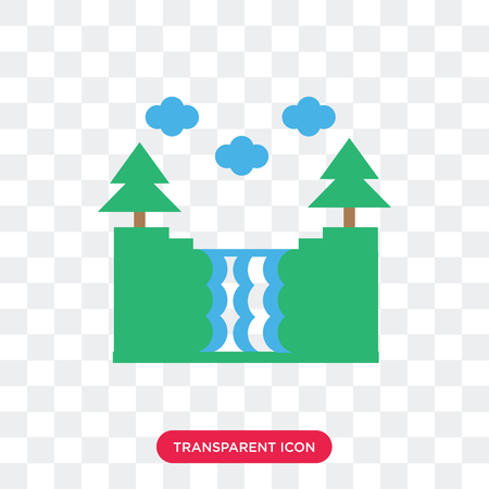 Waterfall vector icon isolated on transparent background, Waterfall logo concept Ilustrace