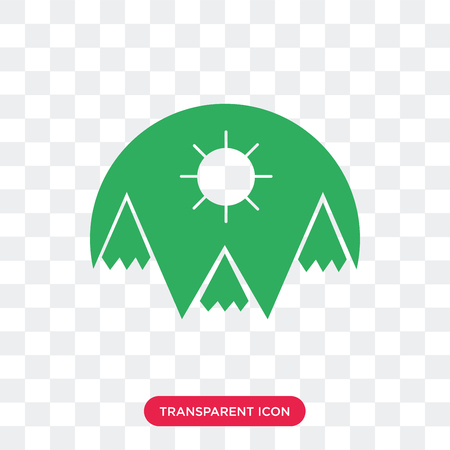 Mountains vector icon isolated on transparent background, Mountains logo concept 矢量图像