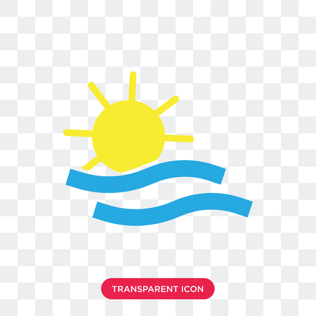 Sea and Sun vector icon isolated on transparent background, Sea and Sun logo concept Vectores