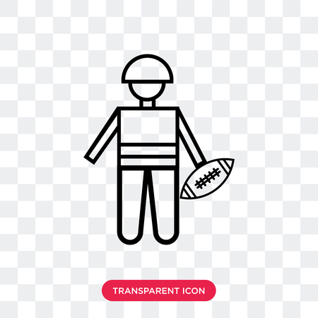 American football player picking the ball vector icon isolated on transparent background, American football player picking the ball logo concept Illustration