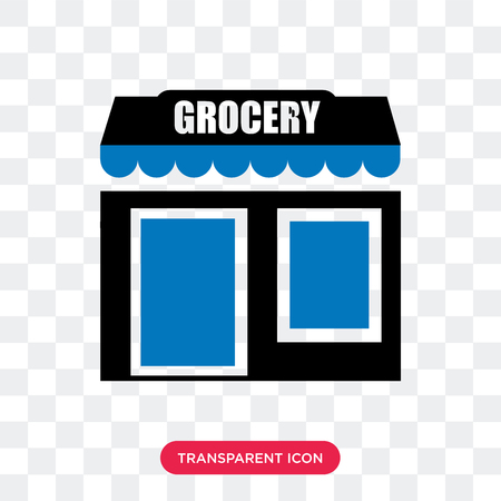 Grocery vector icon isolated on transparent background, Grocery logo concept Çizim
