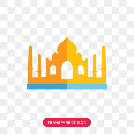 Taj mahal vector icon isolated on transparent background, Taj mahal logo concept