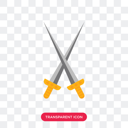 Swords vector icon isolated on transparent background, Swords logo concept