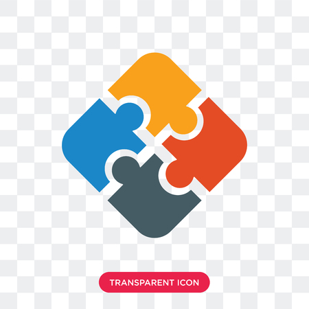 Jigsaw vector icon isolated on transparent background, Jigsaw logo concept Vettoriali