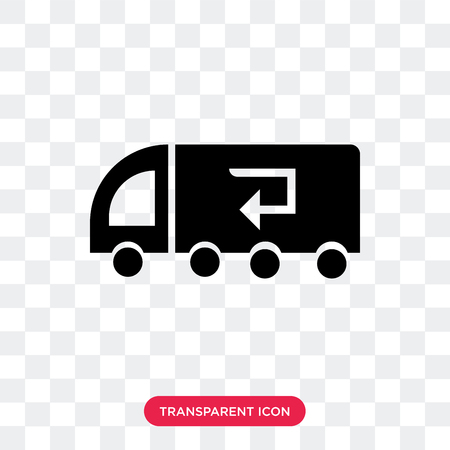 Recycling truck vector icon isolated on transparent background, Recycling truck logo concept
