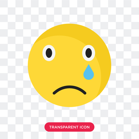 Sad smile vector icon isolated on transparent background, Sad smile logo concept