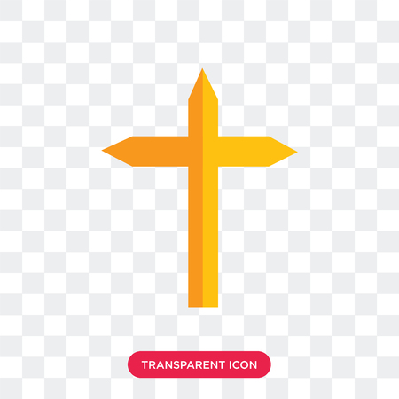 Cross vector icon isolated on transparent background, Cross logo concept