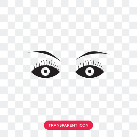 Female eye vector icon isolated on transparent background, Female eye logo concept