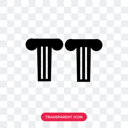 Greek pillar vector icon isolated on transparent background, Greek pillar logo concept
