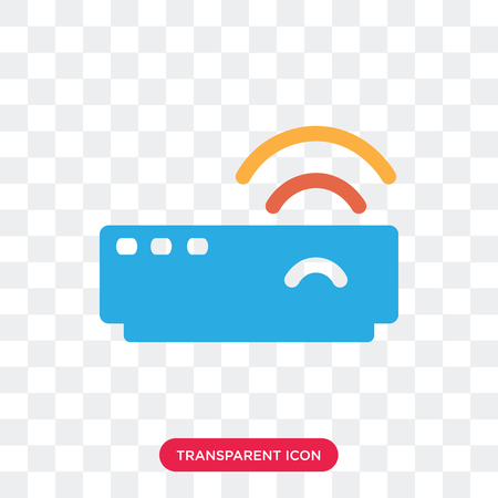 Modem vector icon isolated on transparent background, Modem logo concept Çizim