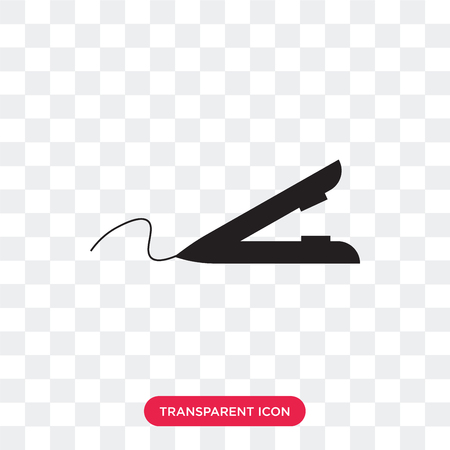 Hair iron vector icon isolated on transparent background, Hair iron logo concept Stock Vector - 107449314