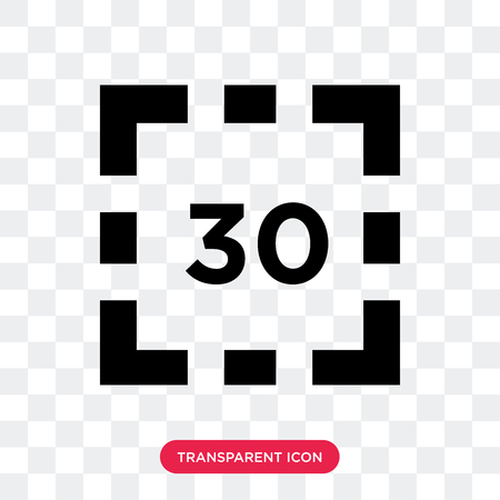 Digital display 30 vector icon isolated on transparent background, Digital display 30 logo concept