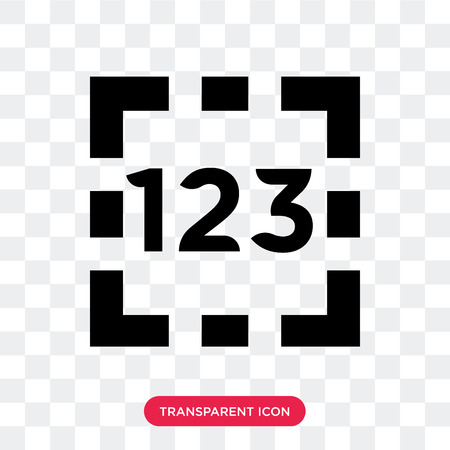 Numbers vector icon isolated on transparent background, Numbers logo concept