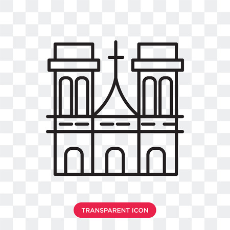 Notre dame vector icon isolated on transparent background, Notre dame logo concept