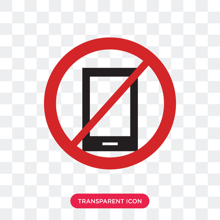 No phone vector icon isolated on transparent background, No phone logo concept