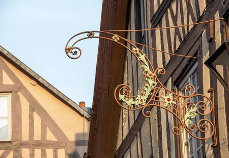 Blacksmithing at a half-timbered house in Rouen, France