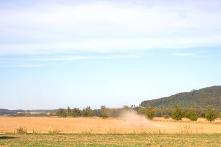 Climate change, dried-up field in agriculture