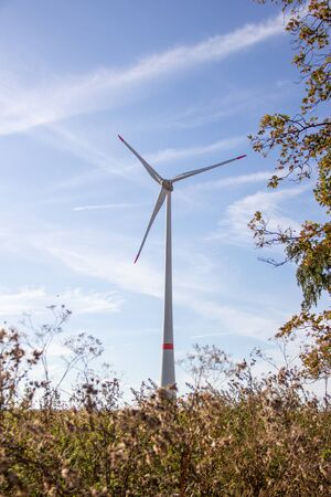 View of a wind turbine also called a windmill powered plant