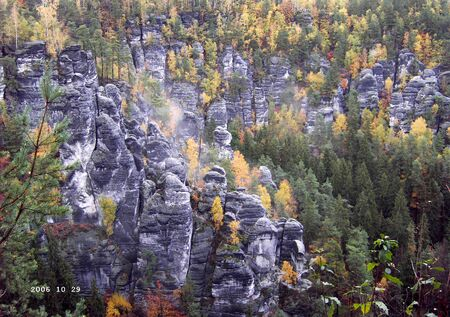 View of a rock formation in the Elbe Sandstone Mountains