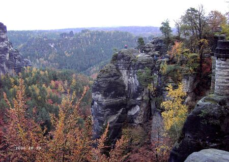 View of the Bastei in the Elbe Sandstone Mountains