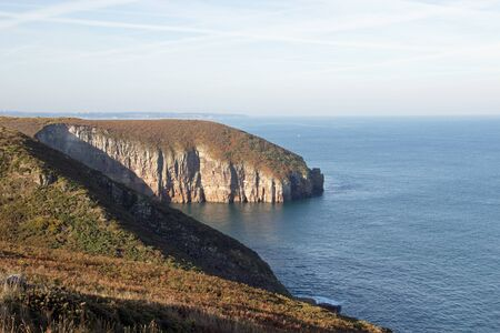 View of a cliff in Normandy, France