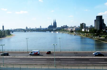 View of the city of Cologne with the cathedral seen from the cable car 스톡 콘텐츠