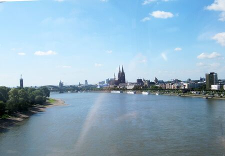 View from the river rhine to the city of Cologne with the cathedral, Germany