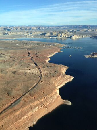 Aerial view of Lake Powell Reservoir in the Glen Canyon National Recreation Area Фото со стока
