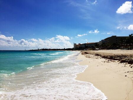 View of the beach in Cancun, a Mexican city on the Yucatan Peninsula on the Caribbean Sea
