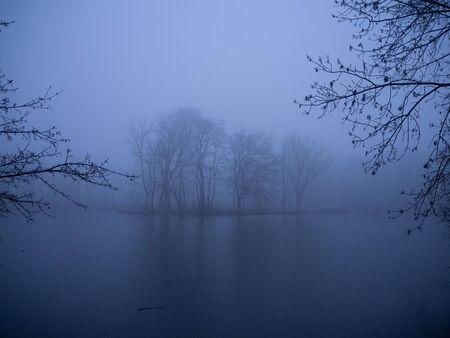 Pond in winter in a foggy forest Standard-Bild