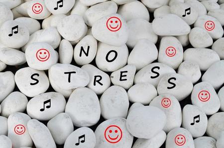 No stress written on white stones Stok Fotoğraf