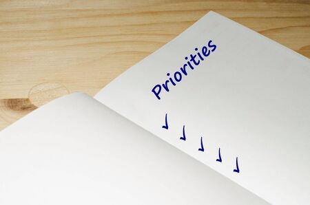priorities: Open agenda with a blank list of priorities Stock Photo