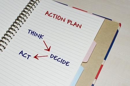 plan de accion: Plan de acci�n escrito en agenda abierta