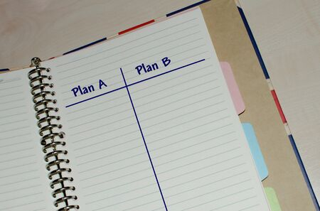 Open agenda with plan A or plan B option list Stok Fotoğraf