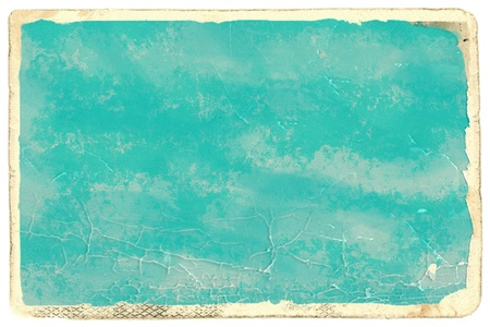 out dated: Old photo paper with light blue empty space