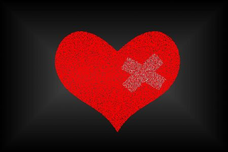 mended: Broken heart with adhesive plaster over black background